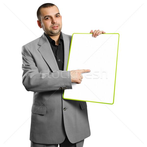 Szczęśliwy kobieta interesu biały karty ręce Zdjęcia stock © leedsn