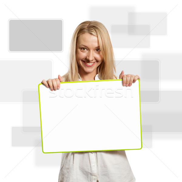 happy businesswoman holding blank white card Stock photo © leedsn