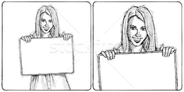 Sketch Happy Business Woman Holding Blank White Card Stock