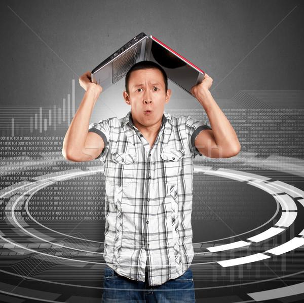 Człowiek laptop asian ręce działalności komputera Zdjęcia stock © leedsn