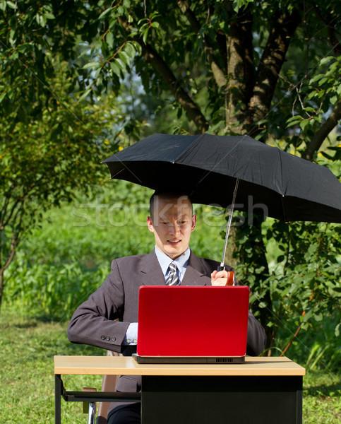 Empresário trabalhando ao ar livre freelance ocultação sol Foto stock © leedsn