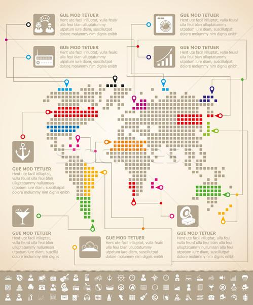Infografika Föld térkép vektor háló elemek Stock fotó © leedsn
