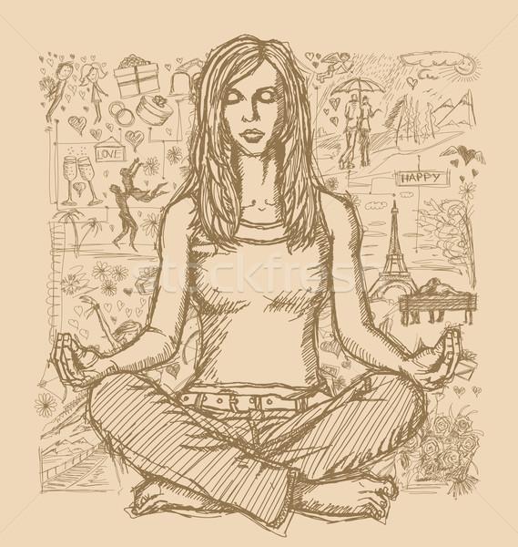 эскиз женщину медитации Lotus создают любви Сток-фото © leedsn