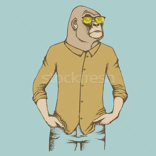 Aap gorilla afrikaanse menselijke pak gevaarlijk Stockfoto © leedsn