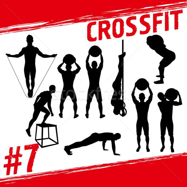 Crossfitの ベクトル シルエット 人 フィットネス 多くの ストックフォト © leedsn