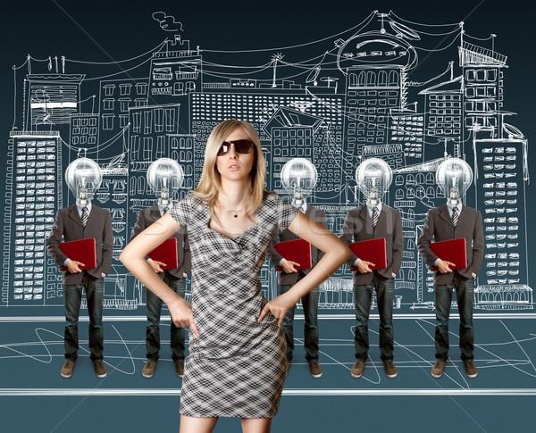 ストックフォト: 女性 · ランプ · 頭 · ノートパソコン · 赤