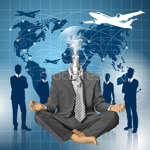 Stock photo: Vector Lamp Head Businessman in Lotus Pose Meditating