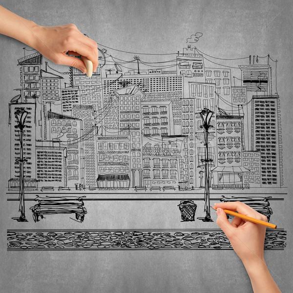 Idéia mão humana viajar esboço lápis mão Foto stock © leedsn