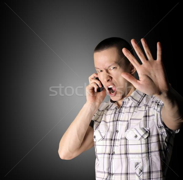 çığlık atan adam açmak el cep telefonu iş Stok fotoğraf © leedsn