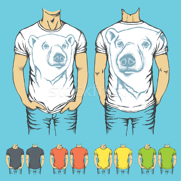 Vector t-shirts templates with prints of animals Stock photo © leedsn