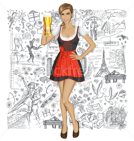 Vector Cute Woman In Drindl With Beer Against Love Background Stock photo © leedsn