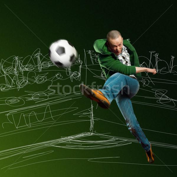 ázsiai labdarúgó képzés rúgás futballabda férfi Stock fotó © leedsn