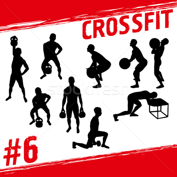 Crossfit vecteur silhouettes personnes fitness beaucoup Photo stock © leedsn
