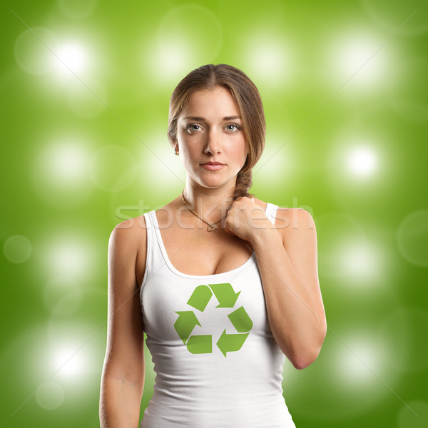 Woman With Recycling Symbol Looking on Camera Stock photo © leedsn