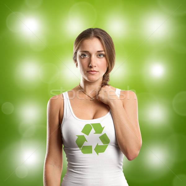 女性 リサイクル シンボル 見える カメラ 幸せ ストックフォト © leedsn