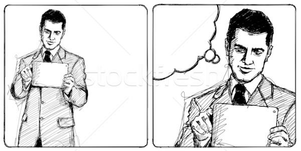 Sketch Businessman With I Pad Stock photo © leedsn
