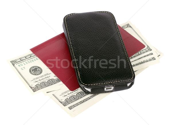 EUA dólares celular isolado branco móvel Foto stock © leedsn
