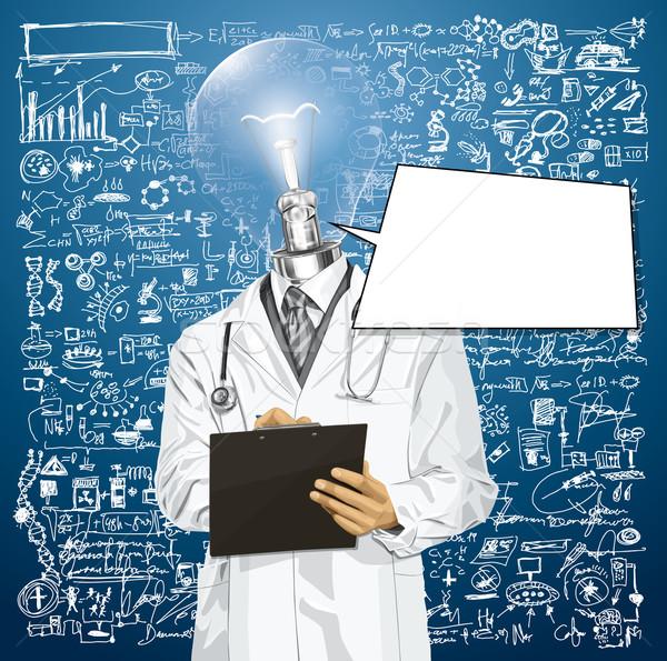 Vector Lamp Head Doctor Man With Clipboard Stock photo © leedsn
