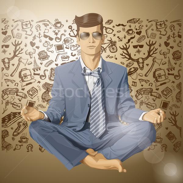 Stockfoto: Vector · zakenman · lotus · pose · mediteren