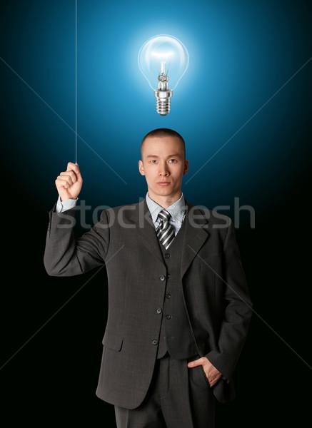 Сток-фото: деловой · человек · повернуть · свет · служба · технологий · бизнесмен