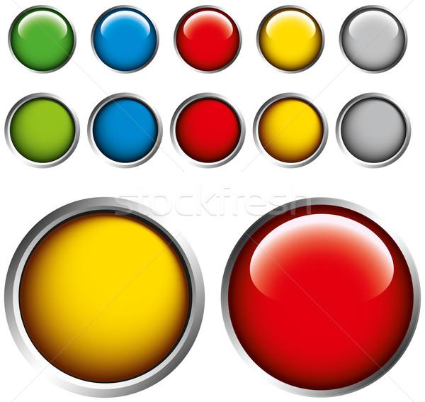 Stockfoto: Gekleurd · knoppen · grijs · vector · geïsoleerd · wereldbol