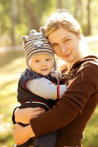Baba kint zárt természet boldog gyermek Stock fotó © leedsn