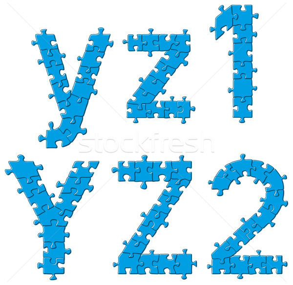 Bilmece alfabe harfler vektör ayarlamak Stok fotoğraf © leedsn