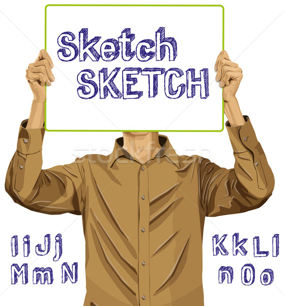 Man With Write Board And Sketch Alphabet 02 Stock photo © leedsn