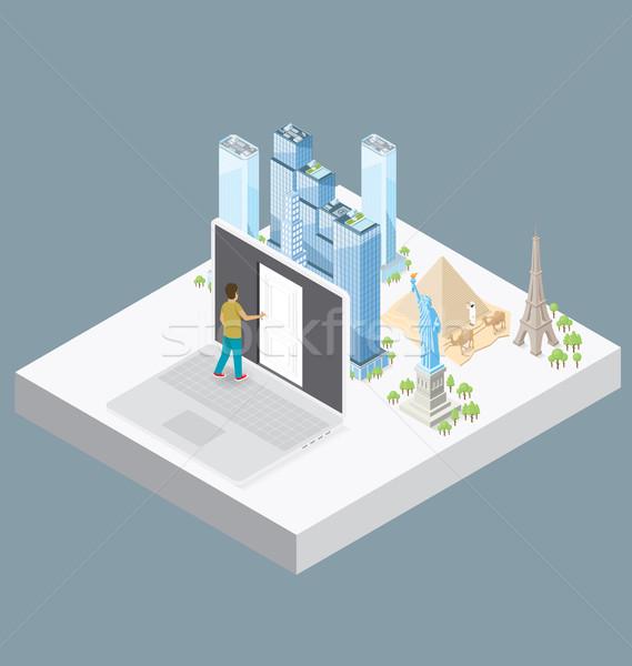 Vector 3D isometrische internet deur kennis Stockfoto © leedsn