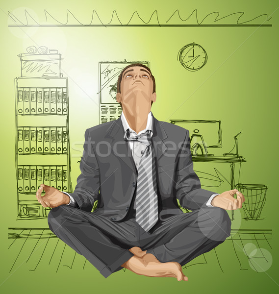 Stock photo: Vector Businessman in Lotus Pose Meditating