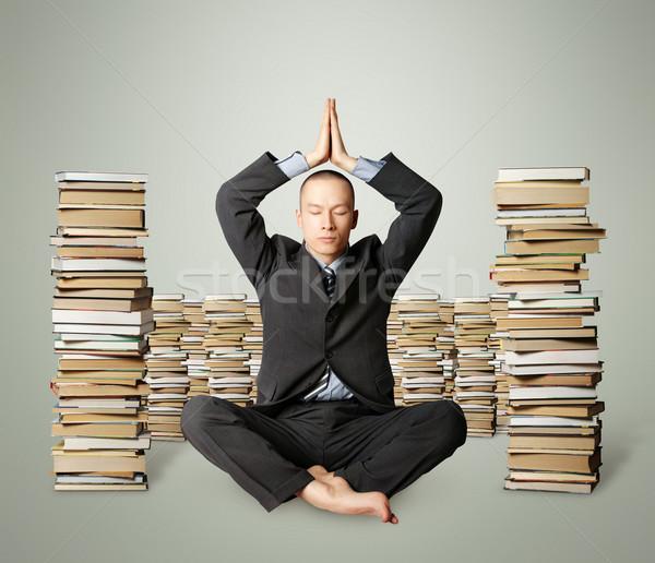 Сток-фото: бизнесмен · Lotus · создают · многие · книгах · изолированный