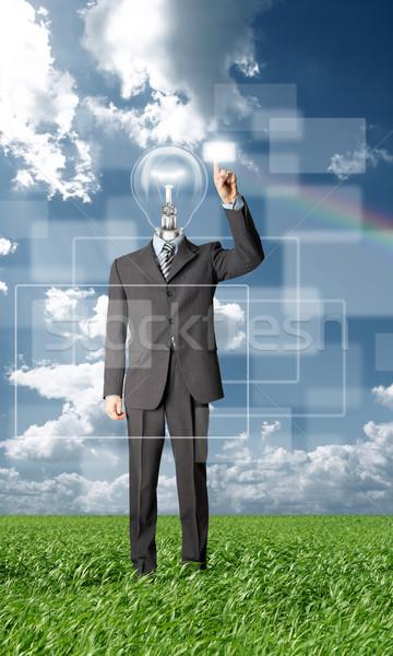 ビジネスマン ボタン 屋外 バーチャル ストックフォト © leedsn