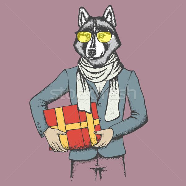 Husky человека костюм подарок вектора собака Сток-фото © leedsn