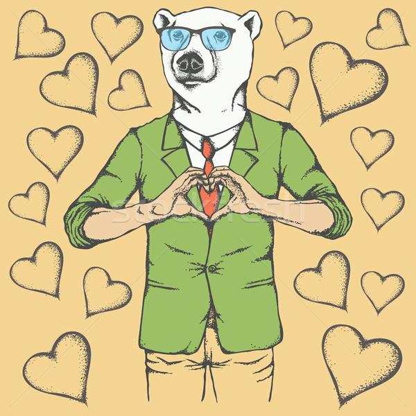 Polar bear Valentine day vector concept Stock photo © leedsn