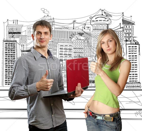 Zdjęcia stock: Człowiek · laptop · ręce · kobieta · dobrze · biuro