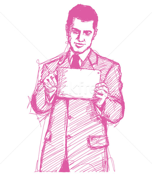 Sketch Businessman With I Pad Stock photo © leedsn
