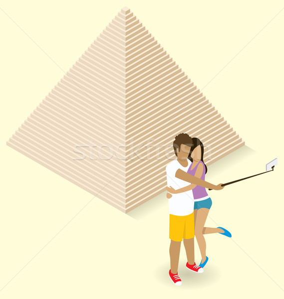 Couple Making Selfie Near The Egyptian Pyramid Stock photo © leedsn