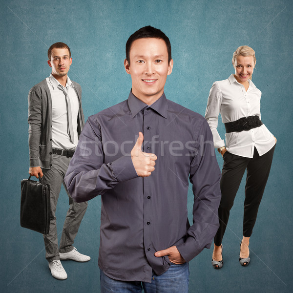 Teamwork and Business Man Shows Well Done Stock photo © leedsn
