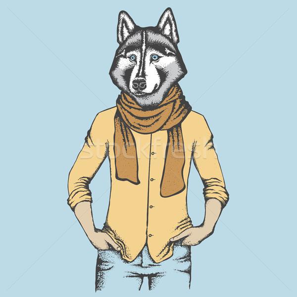Husky humanos camisa vector perro mano Foto stock © leedsn