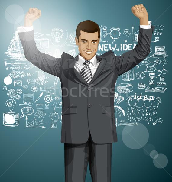 Vector zakenman handen omhoog gelukkig vieren overwinning Stockfoto © leedsn