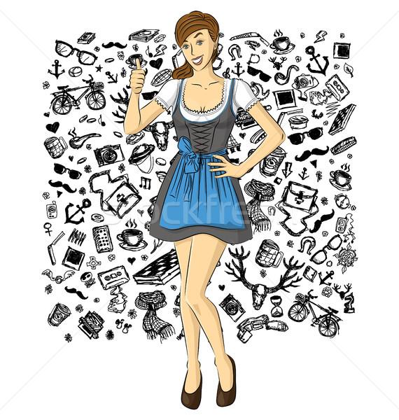 Vector Cute Woman In Drindl On Oktoberfest Stock photo © leedsn