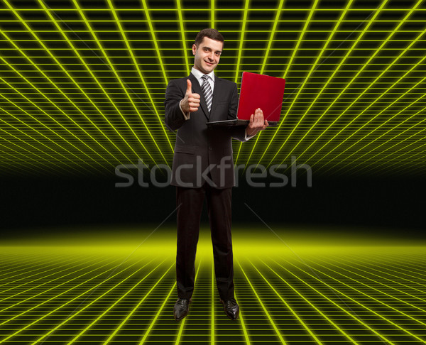 businessman with laptop shows well done in fantastic room Stock photo © leedsn