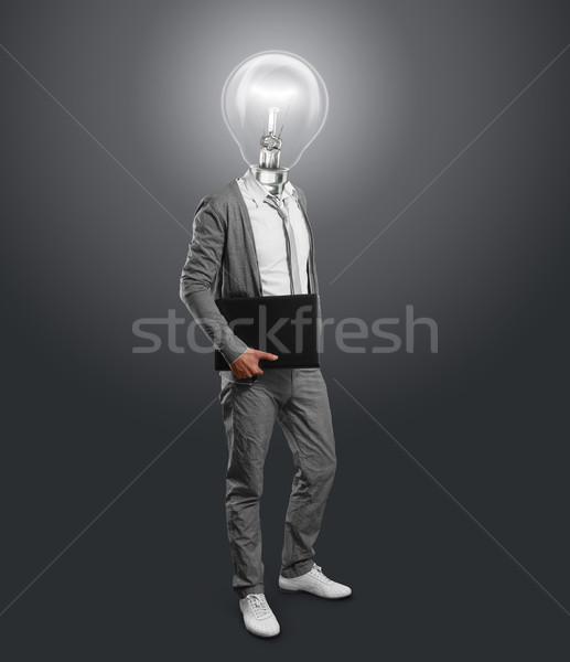 Stockfoto: Lamp · hoofd · zakenman · laptop · handen · glimlach