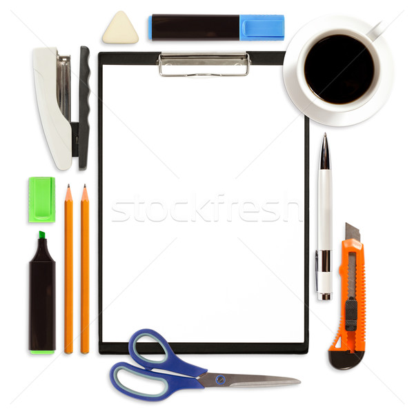 Clipboard With Office Supply Isolated Stock photo © leedsn
