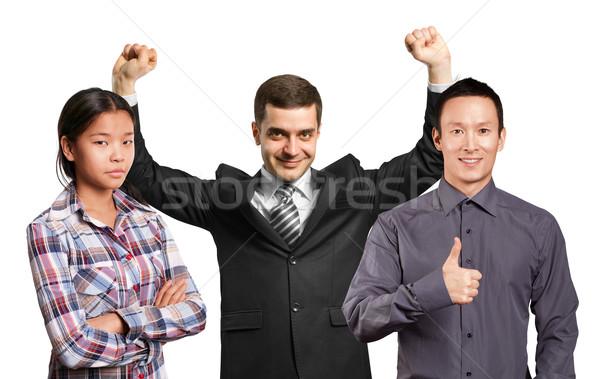 Asian team zakenman handen omhoog gelukkig vieren Stockfoto © leedsn