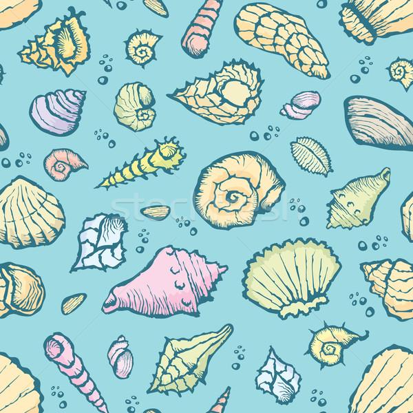 seamless summer shell pattern Stock photo © leedsn
