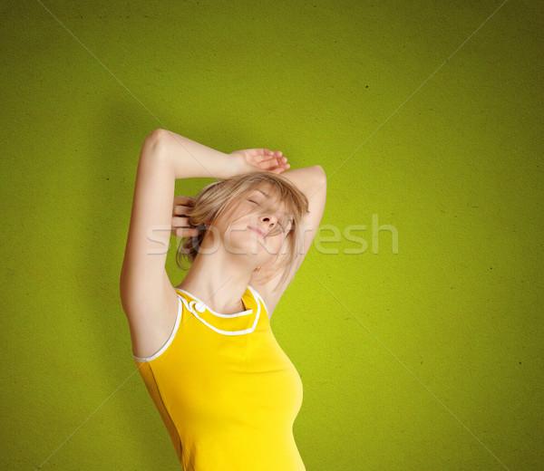 cute sleeping girl stratching Stock photo © leedsn