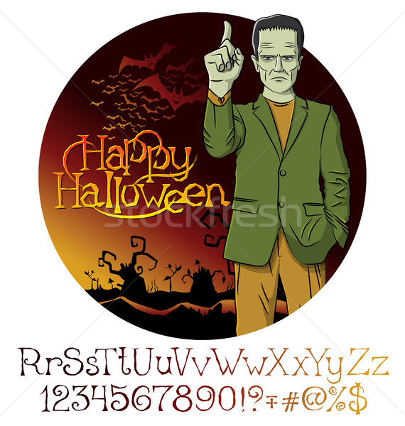Vector Cartoon Frankenstein Halloween Stock photo © leedsn
