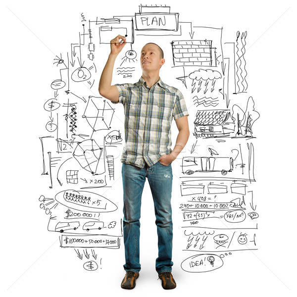 Stock photo: asian male writting something