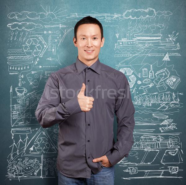 Iş adamı iyi ekoloji Asya iş gülümseme Stok fotoğraf © leedsn